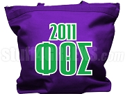 Phi Theta Sigma Tote Bag with Greek Letters and Founding Year, Purple