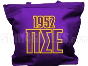 Pi Sigma Epsilon Tote Bag with Greek Letters and Founding Year, Purple