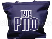 Rho Pi Phi Tote Bag with Greek Letters and Founding Year, Navy Blue