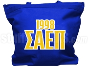 Sigma Alpha Epsilon Pi  Tote Bag with Greek Letters and Founding Year, Royal Blue