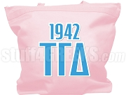 Tau Gamma Delta Tote Bag with Greek Letters and Founding Year, Pink