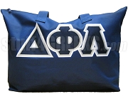 Delta Phi Lambda Tote Bag, Navy Blue Bag with Triple-Layered Letters
