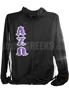 Alpha Zeta Omega Track Jacket with Iron Rider Font Greek Letters, Black