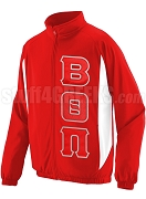 Beta Theta Pi Track Jacket with Greek Letters, Red
