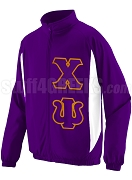 Chi Psi Track Jacket with Greek Letters, Purple