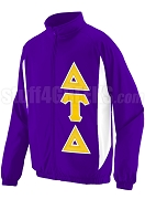Delta Tau Delta Track Jacket with Greek Letters, Purple