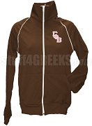 Gamma Phi Beta Logo Letter Track Jacket, Brown