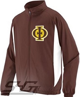 Iota Phi Theta Logo Track Jacket, Brown/White
