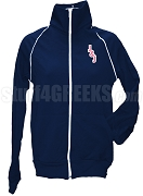Jack & Jill Ladies Logo Letter Track Jacket, Navy Blue