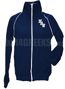 Kappa Alpha Pi Ladies Logo Letter Track Jacket, Navy Blue