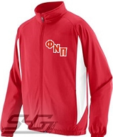 Phi Nu Pi Logo Track Jacket, Red/White