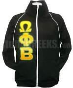 Omega Phi Beta Greek Letter Track Jacket, Black