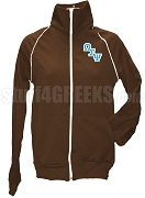 Omega Sigma Psi Logo Letter Track Jacket, Brown