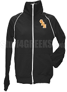 Phi Beta Epsilon Ladies Logo Letter Track Jacket, Black