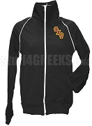 Phi Chi Theta Ladies Logo Letter Track Jacket, Black