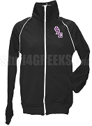 Phi Delta Epsilon Ladies Logo Letter Track Jacket, Black
