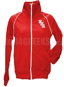 Pi Kappa Delta Ladies Logo Letter Track Jacket, Red
