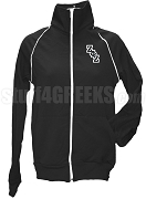 Zeta Phi Zeta Ladies Logo Letter Track Jacket, Black