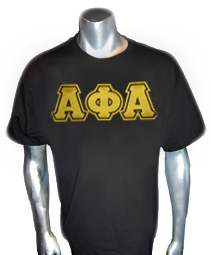 A-Phi-A Triple-Layered Letters Screen Printed T-Shirt, Black