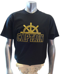 Black/Old Gold Captain Screen Printed T-Shirt