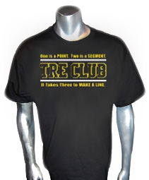 Black/Old Gold Tre Club (Generation 1) Screen Printed T-Shirt, Black