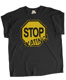 Stop Skating! (Black/Old Gold) Screen Printed T-Shirt, Black