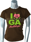 Alpha Kappa Alpha Eta Xi Chapter - I Heart GA Bulldogs Shirt, Brown - EMBROIDERED with Lifetime Guarantee