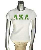 AKA Letters with 20 Pearls, White Screen Printed T-Shirt