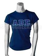 Alpha Beta Sigma Screen Printed T-Shirt with Greek Letters, Blue