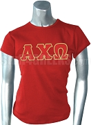 Alpha Chi Omega Screen Printed T-Shirt with Greek Letters, Red