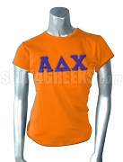 Alpha Delta Chi Screen Printed T-Shirt with Greek Letters, Orange