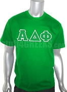 Alpha Delta Phi Screen Printed T-Shirt with Letters, Kelly Green