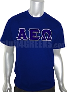 Alpha Epsilon Omega Greek Letter Screen Printed T-Shirt, Navy Blue