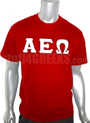 Alpha Epsilon Omega Greek Letter Screen Printed T-Shirt, Red