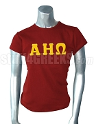 Alpha Eta Omega Greek Letter Screen Printed T-Shirt, Burgundy