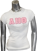 Alpha Eta Theta Greek Letter Screen Printed T-Shirt, White