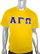 Alpha Gamma Omega Greek Letter Screen Printed T-Shirt, Gold
