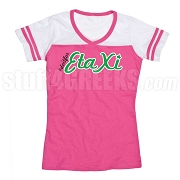 Do It For Eta Xi Hot Pink/White Powder Puff Tee with Embroidered Design on Front and Back