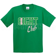 8/Eight Club Screen Printed T-Shirt, Kelly/Pink