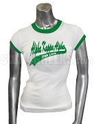 Alpha Kappa Alpha For Life Ringer Screen Printed T-Shirt, White/Kelly Green