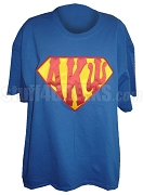 Alpha Kappa Psi Screen Printed T-Shirt with Superman Letters, Royal Blue