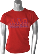 Alpha Lambda Omega Screen Printed T-Shirt with Greek Letters, Red