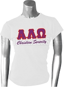 Alpha Lambda Omega Screen Printed T-Shirt with Greek Letters, White