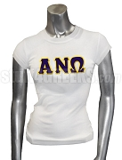 Alpha Nu Omega Ladies' Screen Printed T-Shirt with Greek Letters, White