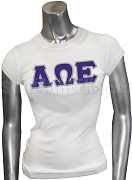 Alpha Omega Epsilon Screen Printed T-Shirt with Greek Letters, White