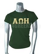 Alpha Omega Eta Screen Printed T-Shirt with Greek Letters, Forest Green