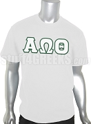 Alpha Omega Theta Christian Fraternity Greek Letter Screen Printed T-Shirt, White