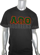 Alpha Omega Theta Greek Letter Screen Printed T-Shirt, Black