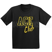 Ace Club Screen Printed T-Shirt, Black/Old Gold