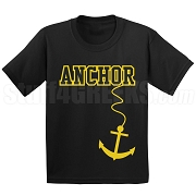 Anchor Screen Printed T-Shirt, Black/Old Gold